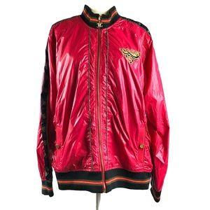Coogi Plus Size Red Shiny Nylon Bomber Jacket